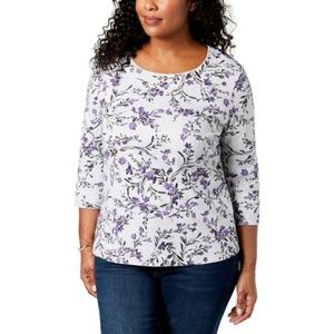 Karen Scott Women's Plus Floral Print Casual Top